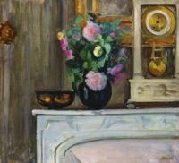 Henri Lebasque (French, 1865–1937), Bouquet of Flowers on the Mantel