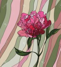 13830646-Multicolored-stained-glass-with-floral-motif-a-peony-on-a-multicolored-striped-background-Stock-Vector