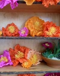 paper flowers on shelves - small