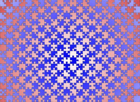 Interlocked gradient puzzle (Large 1:1 pieces)