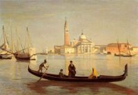 Venice Gondola on Grand Canal - Camille Corot