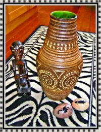 West Germany pottery vase turns tribal.