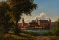 Frederiksborg Castle seen from the shores of the castle lake (1859)
