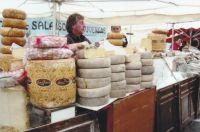 Cheese Booth at Saturday Market in France