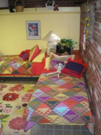 My Colorful Basement...about 4 years ago! Here's my flower rug, Quartina.