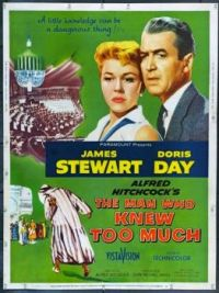 Hitchcock's THE MAN WHO KNEW TOO MUCH - 1956 POSTER - JAMES STEWART & DORIS DAY