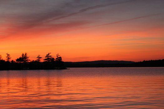 Sunset at the 'Frog Pond' on Ambajejus Lake