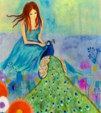 Peacock: Lady & Peacock Painting