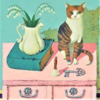 Cat on a Small Pink Dresser