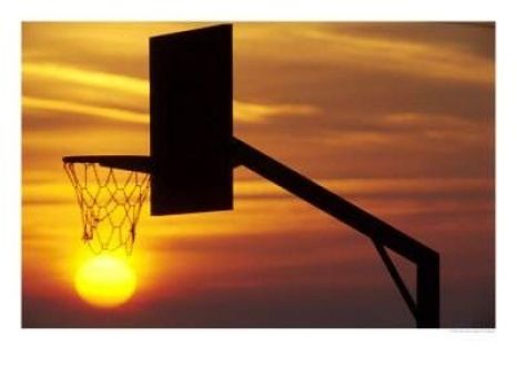 a sunset basketball hoop
