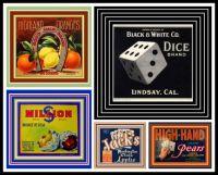 Vintage Fruit Crate Labels Depicting Gambling