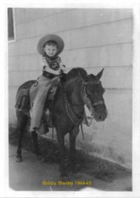 Bobby Shelley on a pony in Needles, CA, 1945
