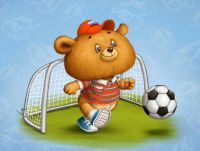 Bear Cub Playing Soccer