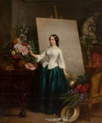 Jean-Baptiste-Antoine-Emile Beranger -Woman flower painter at the easel