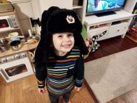 Piggly in Daddy's hat!