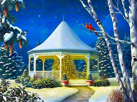 CHRISTMAS GAZEBO IN THE SNOW