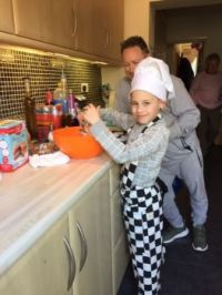Youngest Grandson learning to cook