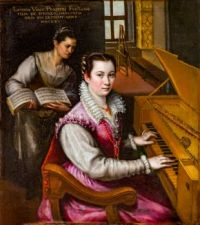 Self-portrait with clavichord and maid