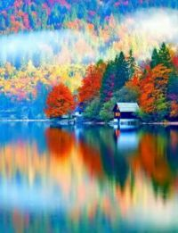 House Along The Lake In Autumn  --  Lake George, New York..l