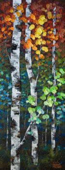 Colourful Autumn Fall Birch and Aspen Tree Painting