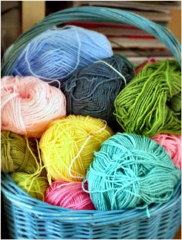 Blue Basket of Yarn