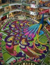 Floral arrangement in a mall in Medellin, Colombia