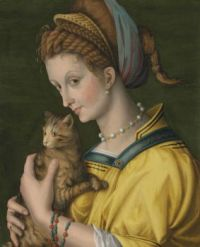 Portrait of a young lady holding a cat Francesco Bacchiacca (1494–1557)