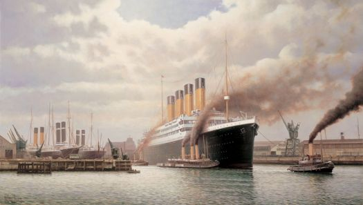 R.M.S Titanic leaving the White Star Dock - courtesy of Rodney Charman - http://www.marine-artist.com/