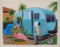 Original Painting Trailer Flamingo