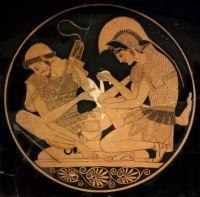 Achilles bandages the arm of Patroclus, c. 500 BC ~ Sosias