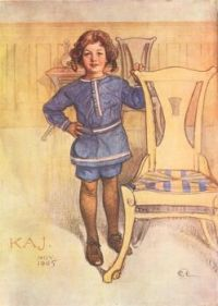K.  J. A Water Color By Carl Larsson, Swedish Artist