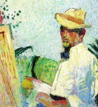 Amiet, Cuno (Soleure 1868 - 1961 Oschwand) Selbstbildnis mit Hut. 1921