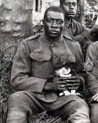 A member of the Harlem Hellfighters (369th Infantry Regiment) poses while holding a puppy he saved during World War 1, 1918