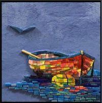 Mixed Media Row Boat