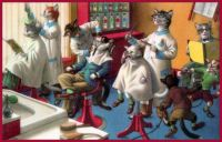 Dressed Cats at the Barber