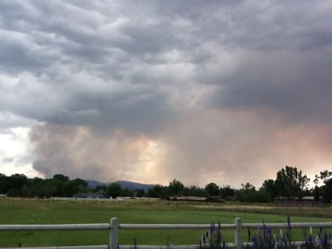 Smoke from High Park wild fire outside Ft. Collins, CO.