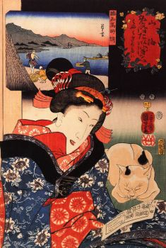 Woman and cat - Utagawa Kuniyoshi