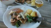 Gorgeous fish and shrimp meal with ice cold beer