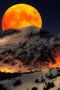 Moonrise and snow