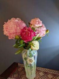 Peonies in Fenton Glass Vase