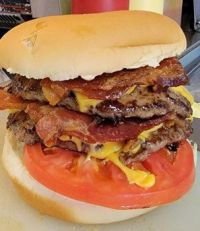 Double bacon cheeseburger with extra bacon