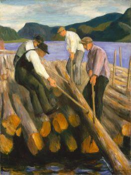 Erik Werenskiold (Norwegian, 1855–1938), Men Working on a Timber Boom (1938)