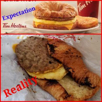Ordered a croissant breakfast sandwich; Thanks Tim Hortons!!