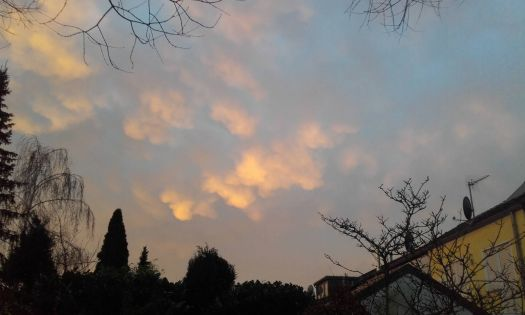 Clouds illuminated by morning sun