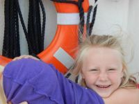 Hayven on the shipwreck boat in Alpena