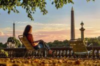 summer evening in the Tuileries garden at Place de la Concorde Paris