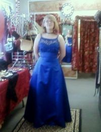 My youngest trying on dresses for upcoming jr prom