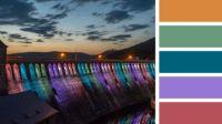Colourfully-Lit Dam