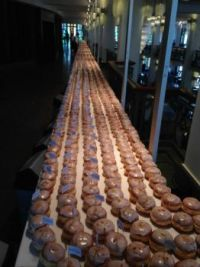 The longest line of doughnuts was about a third of a mile long.