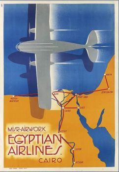 Vintage Egyptian Airlines poster